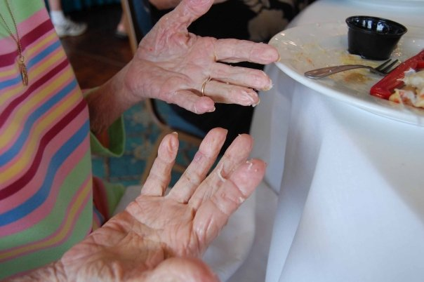 Hands can tell the best stories.  Here my mom's hands are full of crab after a festive family brunch.