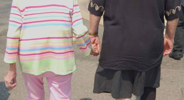 My parents always held hands.  Always.  Walking, sitting, at the mall. For 64 years, they were inseparable.
