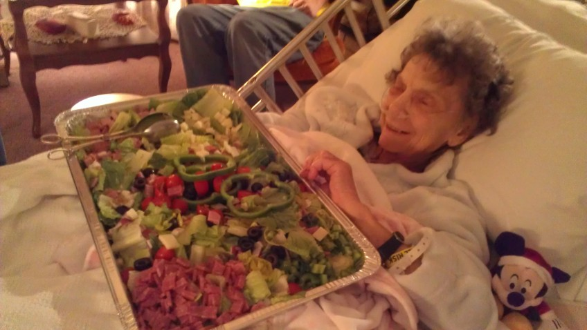 My mom's words to everyone who stopped by those two weeks. This was a salad brought by our friend Kathie.