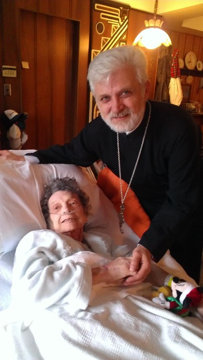 Father Zivan, my parent's parish priest, came by to give my mom her final blessing.  She loved Father Zivan like he was family.  I think he felt the same about her.