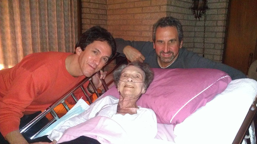 Two of my mom's favorite gentlemen came to call: Mitch Albom & Rosey (Marc Rosenthal).  She held court from her bed and was all smiles all night long.